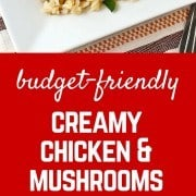 A delicious, easy, and budget-friendly meal - it's not too good to be true! Creamy chicken and mushrooms with rice is comforting, satisfying, and tasty. Get the recipe on RachelCooks.com!