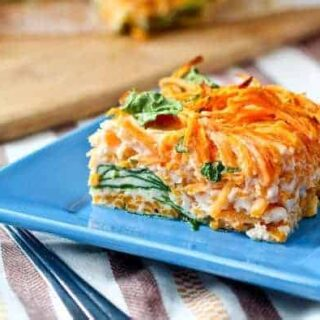 Egg White Breakfast Bake with Sweet Potato and Spinach