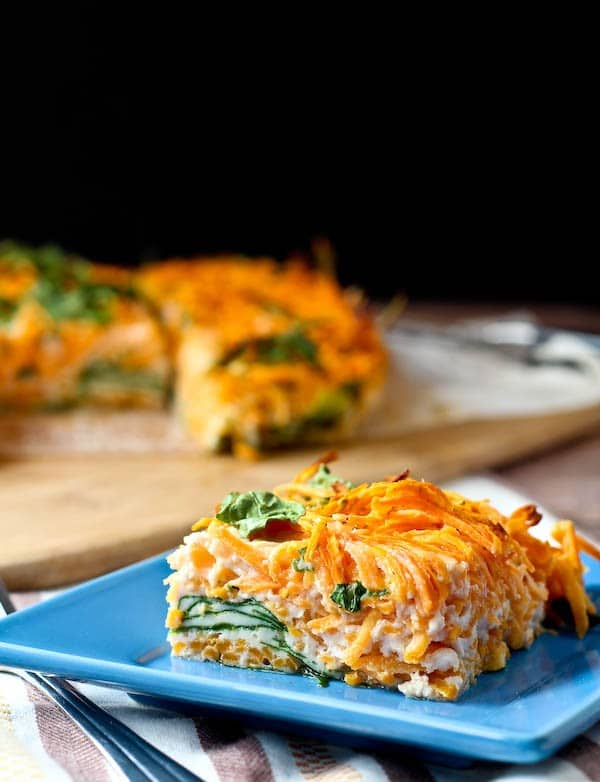 Egg White Breakfast Bake with Sweet Potato and Spinach is simple to make, colorful, and the perfect make-ahead breakfast! Get the healthy breakfast recipe on RachelCooks.com!