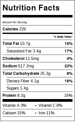 vegetarian baked taquitos nutritional label
