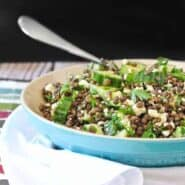 Filling, satisfying, and flavorful. This lentil salad recipe with feta, lemon, and parsley is perfect for meal prep days and stores well in the fridge for healthy eating all week. Get the healthy recipe on RachelCooks.com!