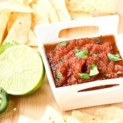 Ever go out to eat just for that irresistible salsa? You won't believe how easy it is to make restaurant style salsa at home. Get the easy recipe on RachelCooks.com!