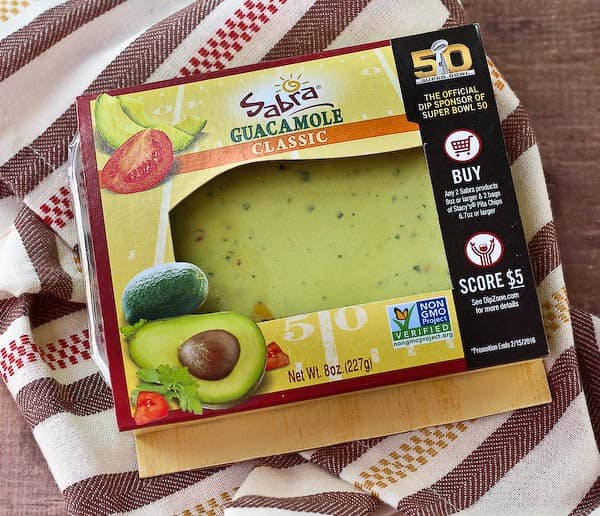 Top view of a package of Sabra guacamole.