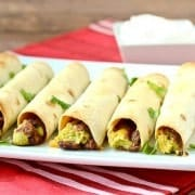 A great option for vegetarians, these baked taquitos are perfect for game days or even lunch. They are easy to make and you only need five ingredients! Get the recipe on RachelCooks.com.