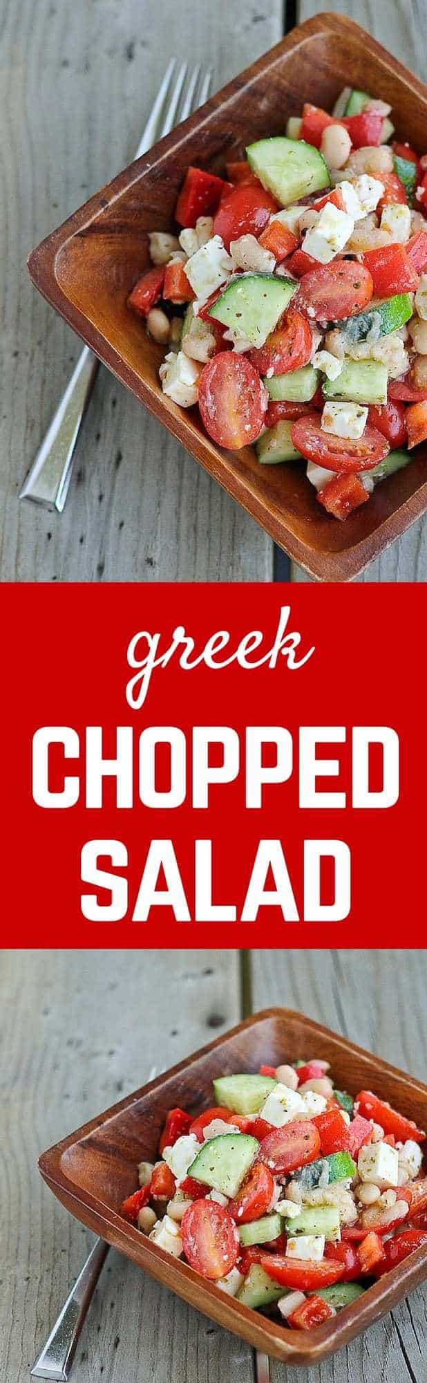 This Greek chopped salad recipe is ridiculously easy to make, keeps well in the fridge and is a total crowd pleaser! Great for quick lunches and potlucks. Get the recipe on RachelCooks.com!