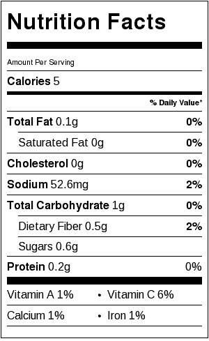 restaurant style salsa nutrition label