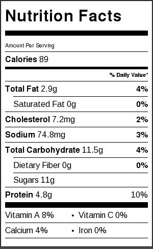 cherry vanilla yogurt bites nutritional label