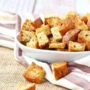 Homemade croutons are so easy to make - these baked, whole grain, 4 ingredient croutons will transform your soups and salads into something completely irresistible. Get the salad topping recipe on RachelCooks.com!