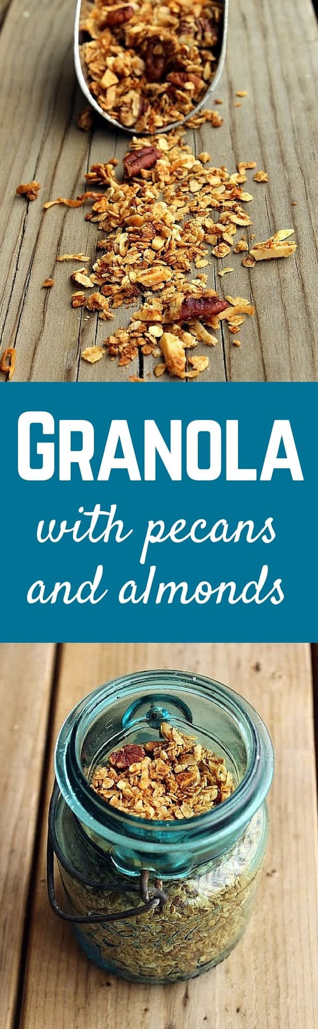Homemade granola recipe with pecans and almonds gets made on a nearly weekly basis at our house! You won't believe how easy it is to make granola at home. Get the easy recipe on RachelCooks.com.