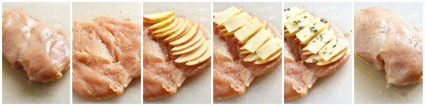 apple gouda chicken collage