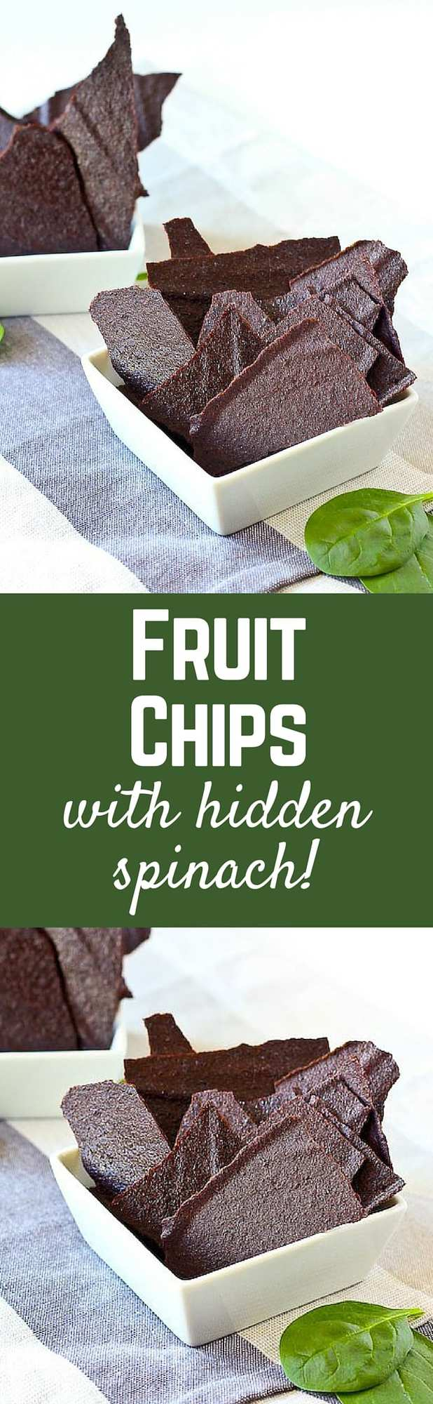 These fun homemade fruit chips are a fun, healthy snack (kids love them!). Major bonus: They hide a ton of spinach! Get the recipe on RachelCooks.com!