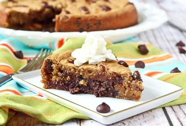 Although still a treat, this healthy chocolate chip cookie recipe is one you can feel good about! Bonus: Made in minutes in a blender AND DEEP DISH - so gooey and delicious! PS: The beans in this cookie add moisture and protein! Get the healthy dessert recipe on RachelCooks.com!