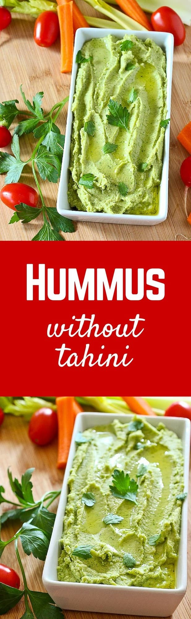 If you don't like or can't have tahini, this parley hummus without tahini should be your bean dip of choice! It comes together in 10 minutes or less and is perfect for healthy dipping. Get the healthy dip recipe on RachelCooks.com!