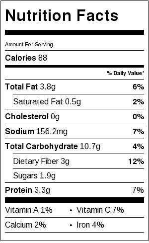 Hummus without tahini - nutrition label