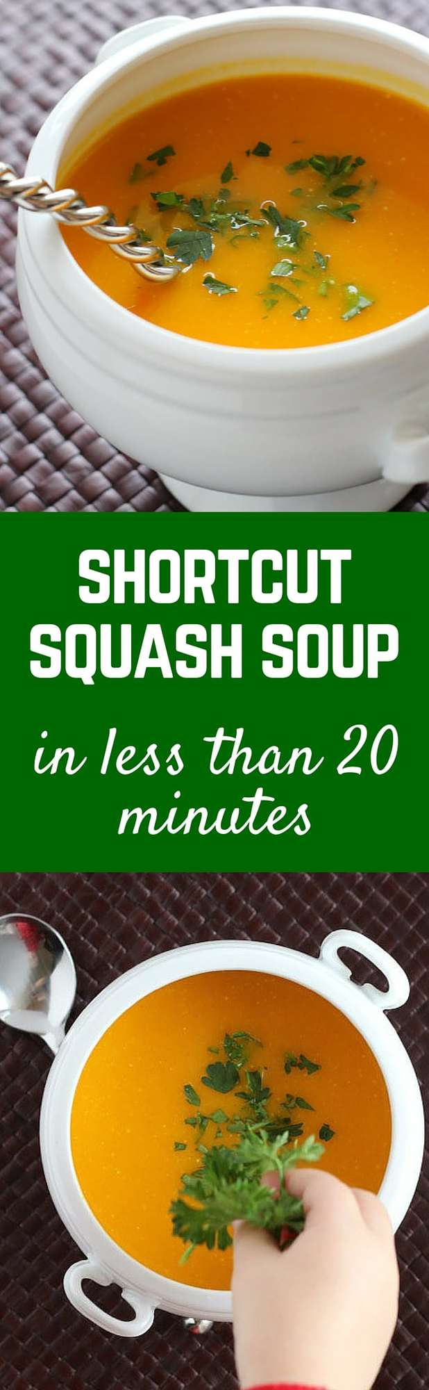 This shortcut squash soup is ready in just 20 minutes - but you won't miss out on any flavor, this soup is packed with nutrition and flavor. Get the easy soup recipe on RachelCooks.com!