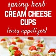 These spring herb cream cheese appetizer cups scream spring flavors and are easy to make - they come together in minutes they are a stunning addition to any appetizer spread. Get the super simple, 10 minute appetizer recipe on RachelCooks.com!
