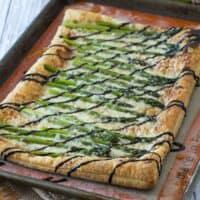 Asparagus Gruyère Tart with Balsamic Glaze