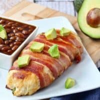 Bacon Wrapped Chicken Breast Stuffed with Avocado and Cheddar