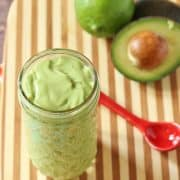 Creamy, flavorful, and packed full of healthy fats - this creamy avocado lime dressing is perfect for your next salad. Get the easy recipe on RachelCooks.com!