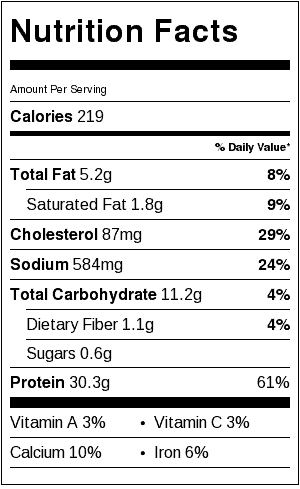 healthy chicken nugget recipe nutritional label