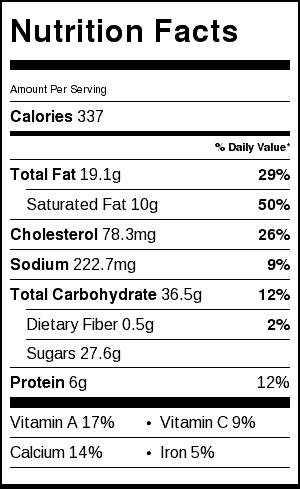 Grapefruit Cheesecake Nutritional Label