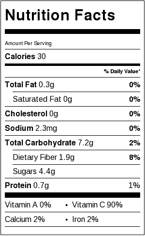 strawberry sorbet nutrition label