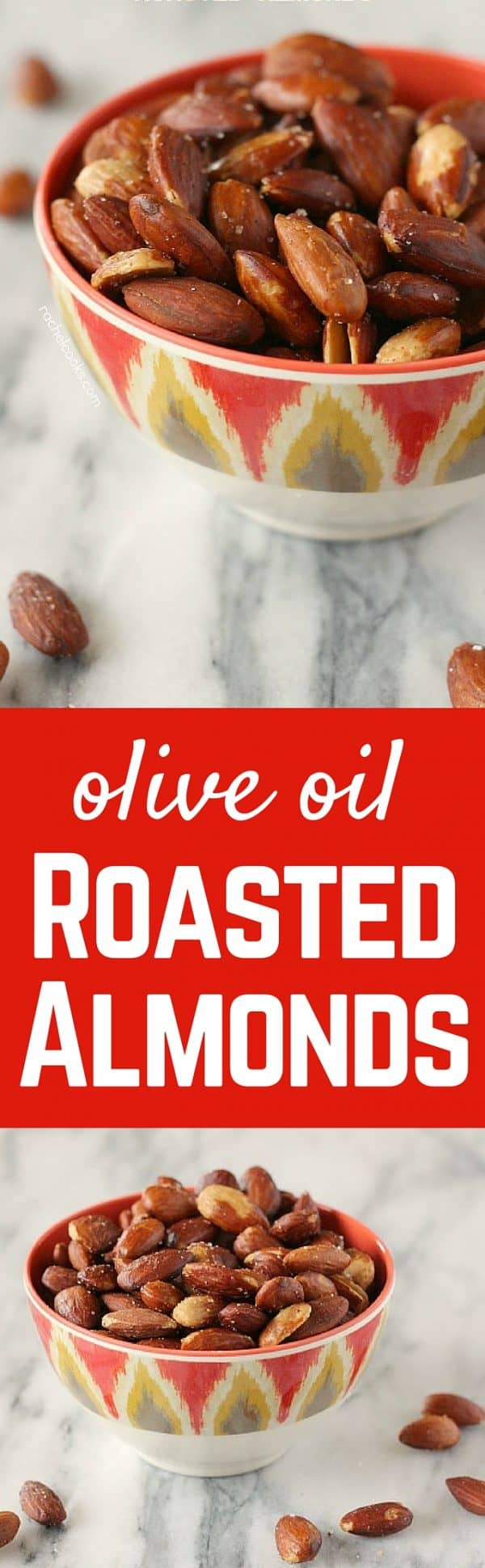 These olive oil roasted almonds are a snack you can feel good about -- plus they taste amazing! You won't be able to stop snacking on them. Get the recipe on RachelCooks.com!