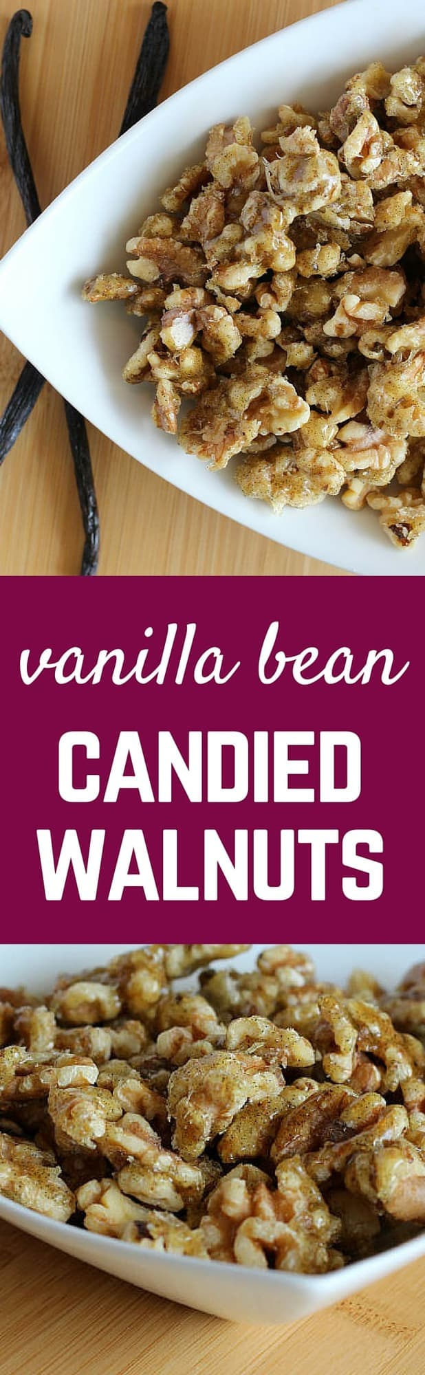 These Vanilla Bean Candied Walnuts are completely and totally irresistible. They're perfect on salads! Get the easy recipe on RachelCooks.com!