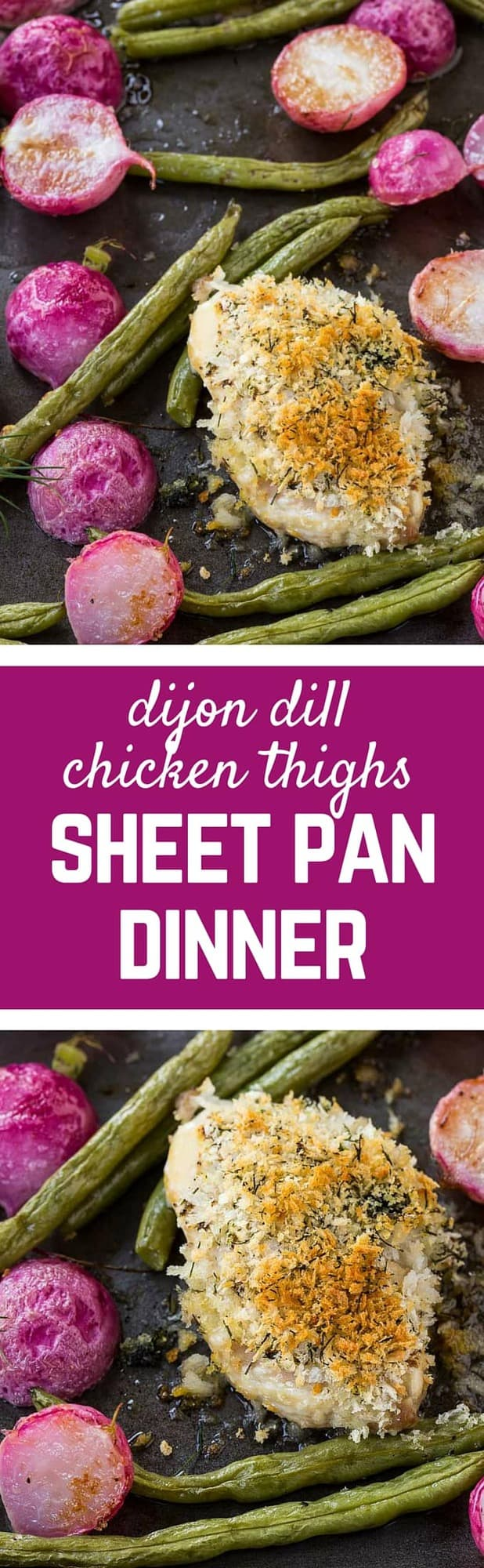 Crispy chicken thighs baked with dijon and dill are great on their own, but with the addition of roasted green beans and radishes, you have a perfect springtime sheet pan dinner. Get the easy recipe on RachelCooks.com!