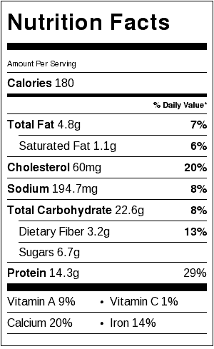 Chocolate Protein Pancakes Nutrition Label