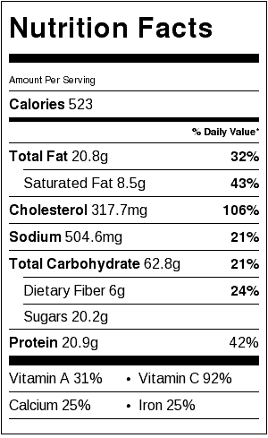Grilled French Toast Nutrition Label