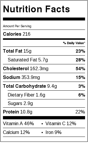 Bacon Cheddar Quiche Nutrition Label