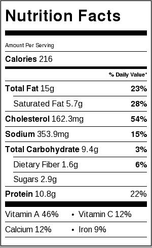Bacon Cheddar Quiche Nutrition Label