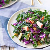 Kale Salad with Apples and Golden Raisins