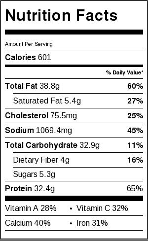 baked chimichanga nutrition label