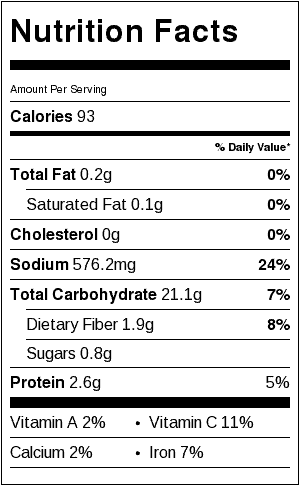 seasoned grilled potatoes nutrition label