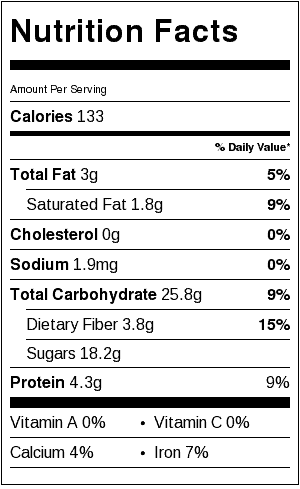 nut-free energy balls nutrition label