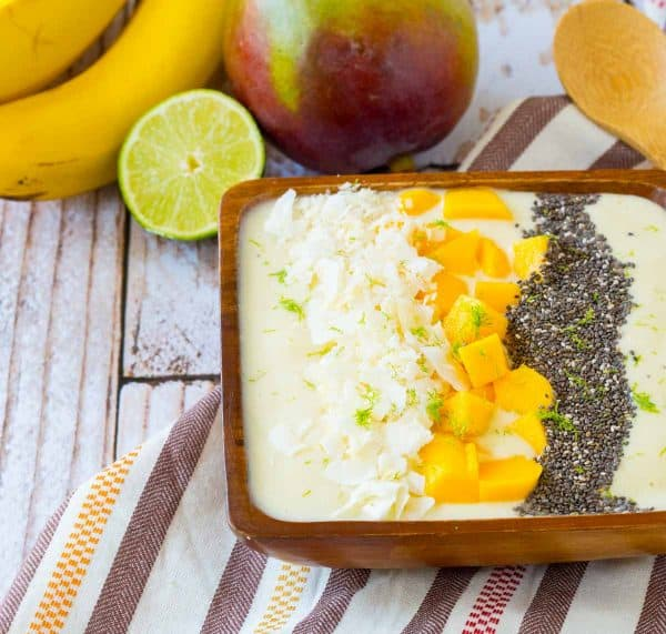 Filled with the flavors of the tropics, this tropical smoothie bowl will be your new favorite way to start the day. The flavors of the bananas, coconut and pineapple will transport you to somewhere warm and sunny. Get the recipe on RachelCooks.com!