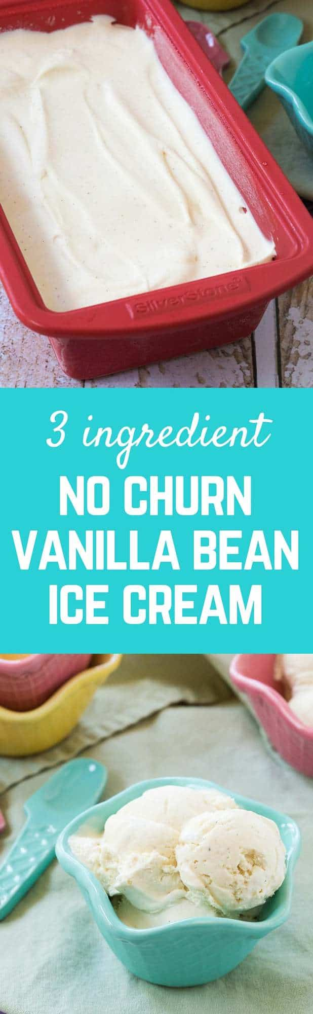 Vanilla bean ice cream is easily made at home -- three ingredients are all you need! No ice cream machine required. Summer just got much easier. Get the easy ice cream recipe on RachelCooks.com!