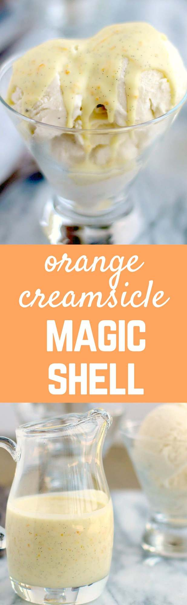 This magic shell recipe isn't your traditional fudge variety. This has the vibrant flavors of orange zest and vanilla bean. Perfect over vanilla ice cream. Get the recipe on RachelCooks.com!