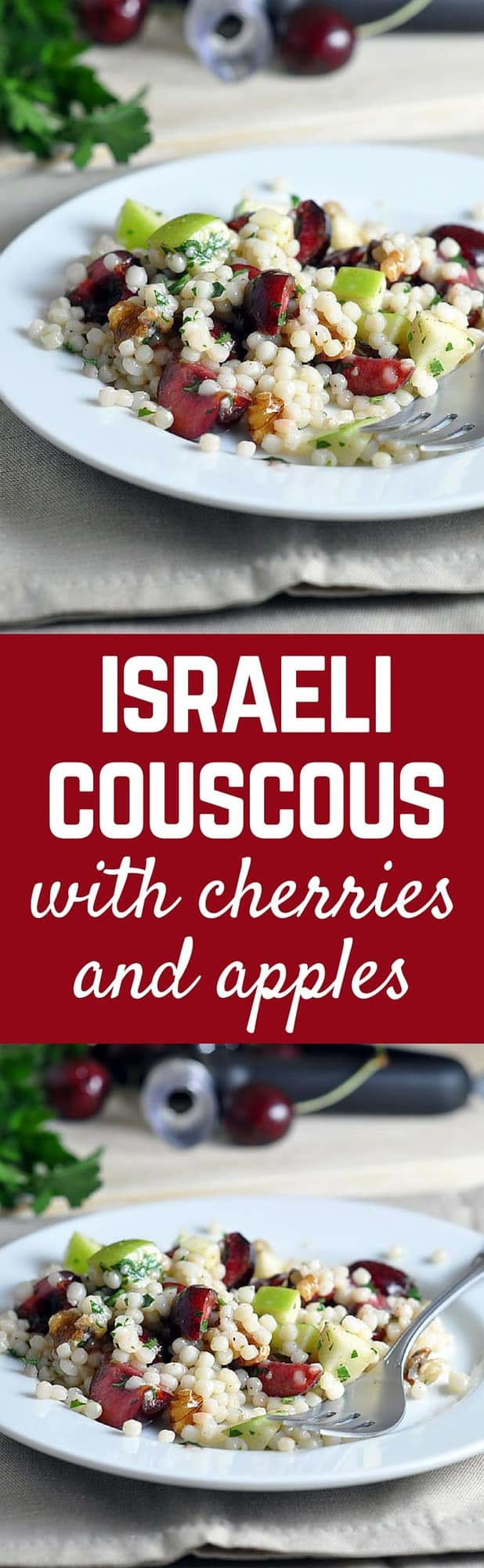 You'll love this Israeli couscous recipe with cherries and apples -- a perfect blend of summer and fall! Get the easy recipe on RachelCooks.com!