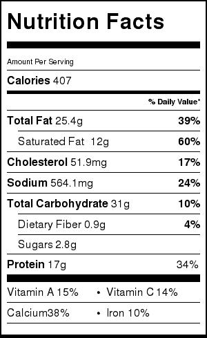 quesadilla nachos nutrition label