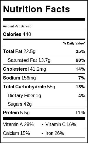 ice cream pie recipe nutrition label