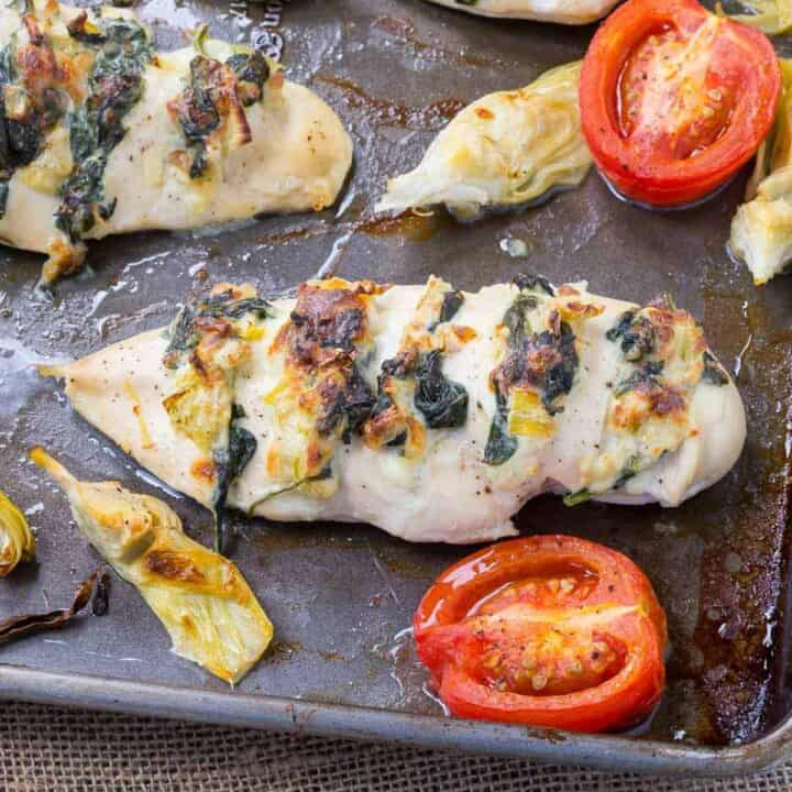 Hasselback Chicken with Spinach and Artichoke - Sheet pan dinner