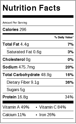 one pot green lentils nutrition label
