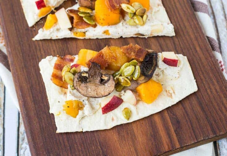 Ricotta Flatbread with Bacon, Squash, Apples and Maple Pepitas