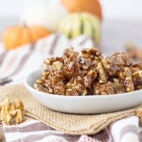 These Pumpkin Spice Candied Walnuts Recipe are the perfect addition to your Thanksgiving table! They're great on pie, sweet potatoes, ice cream or even yogurt! My favorite way is by the handful. Get the recipe on RachelCooks.com!