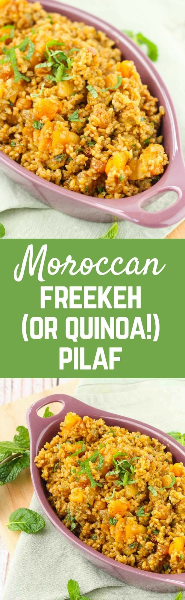 Some days call for ditching plain rice and giving something more exciting a try. This Moroccan freekeh pilaf is just the thing you need. Full of warm spices and sweet dried fruit, it will be the perfect side to your meal. Get the easy recipe on RachelCooks.com!