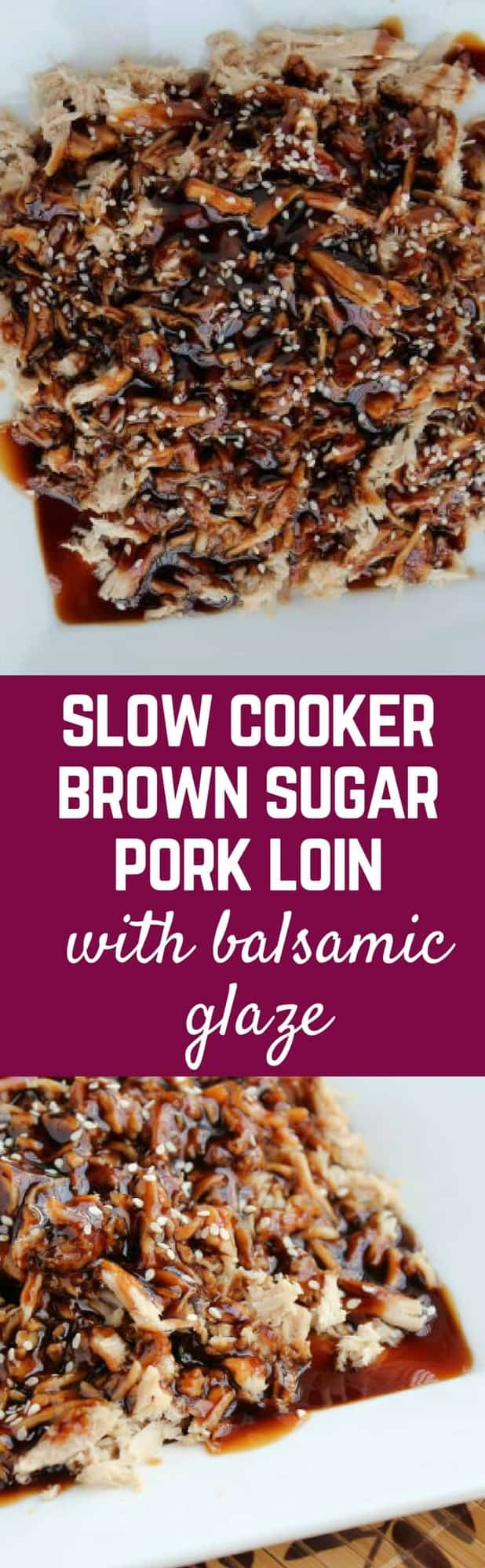 This brown sugar pork loin is made in the slow cooker for an easy weeknight meal. You'll love the glaze! Get the recipe on RachelCooks.com!