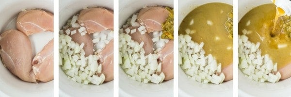 Collage of 5 photos showing green enchilada soup ingredients being added to crockpot.